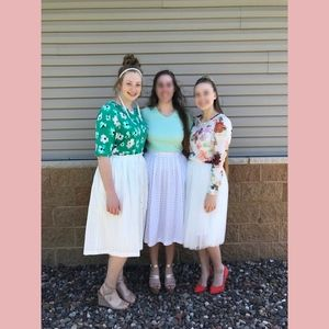 High Waisted White Midi Skirt